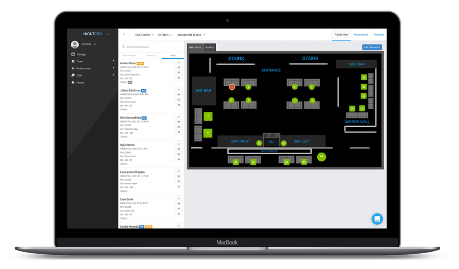 Manage tables and your venue's layout with NightPro